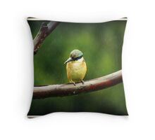 Sacred Kingfisher in the Rain Throw Pillow