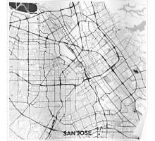 San Jose Map Gray Poster