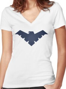 dawn of justice nightwing Women's Fitted V-Neck T-Shirt
