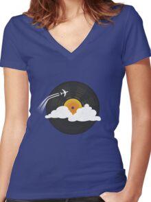 Sunburst Records Women's Fitted V-Neck T-Shirt