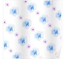watercolor blue flowers pattern Poster