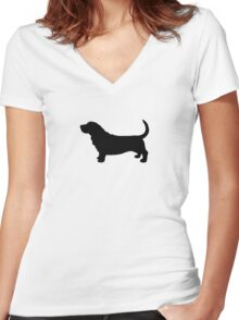Basset Hound Silhouette(s) Women's Fitted V-Neck T-Shirt