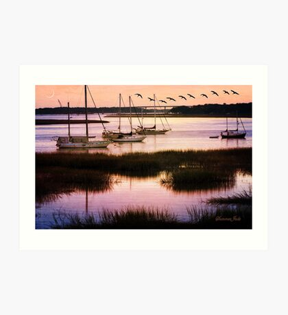 Boats at Anchor ~ Evening Tranquility Art Print
