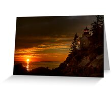 Bass Harbor Head Light House at Sunset Greeting Card