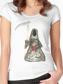 Grim Reaper with Coffee Women's Fitted Scoop T-Shirt
