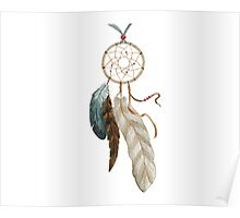 Watercolor dreamcatcher with feather Poster