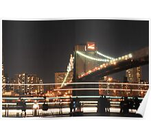 Brooklyn Bridge and Lower Manhattan at Night Poster