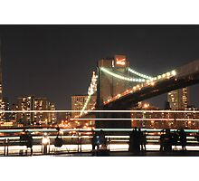 Brooklyn Bridge and Lower Manhattan at Night Photographic Print