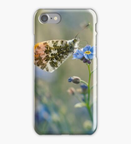 Small butterfly on blue flower iPhone Case/Skin
