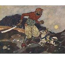 He wounded the giant in the knee. Photographic Print