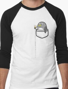 Pocket penguin enjoying ice cream Men's Baseball ¾ T-Shirt