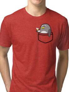 Pocket penguin enjoying ice cream Tri-blend T-Shirt