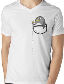 Pocket penguin enjoying ice cream Mens V-Neck T-Shirt