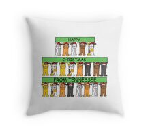 Cats in Santa hats Happy Chrismas from Tennessee. Throw Pillow