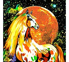 Autumn Horse Harvest Moon Oil painting Photographic Print