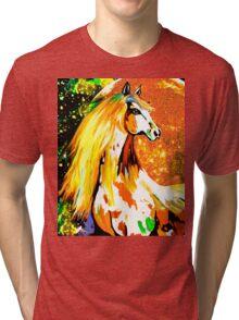 Autumn Horse Harvest Moon Oil painting Tri-blend T-Shirt