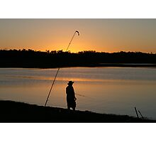 Fishing at Sundown, Lake Boondooma, QLD Photographic Print