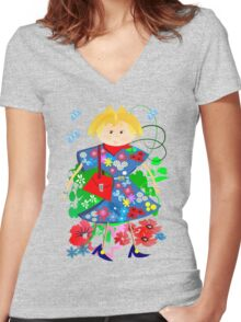 Spring doll Women's Fitted V-Neck T-Shirt