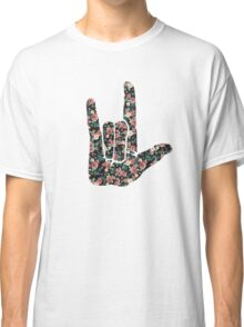 Floral Sign Language I Love You Classic T-Shirt