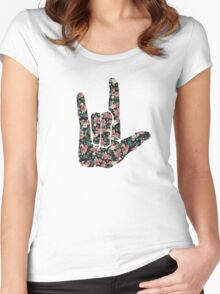Floral Sign Language I Love You Women's Fitted Scoop T-Shirt