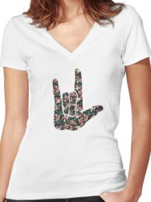 Floral Sign Language I Love You Women's Fitted V-Neck T-Shirt