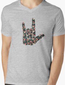 Floral Sign Language I Love You Mens V-Neck T-Shirt