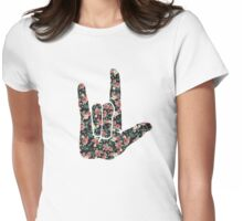 Floral Sign Language I Love You Womens Fitted T-Shirt