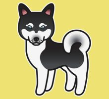 Black And White Alaskan Klee Kai Cartoon Dog Kids Clothes
