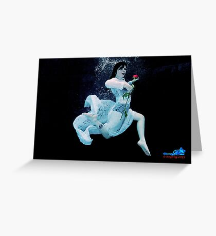 Red Rose, Red Lips and a Lace Dress Underwater II Greeting Card