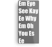 Phonetic Mickey Mouse Metal Print
