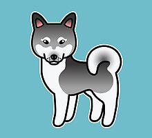 Dark Grey Alaskan Klee Kai Cartoon Dog by destei