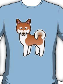 Red And White Alaskan Klee Kai Cartoon Dog T-Shirt