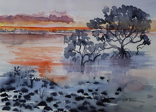Mangroves Cleveland Bay Brisbane  by Virginia McGowan