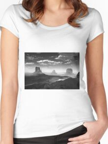 Monument Valley in Black & White  Women's Fitted Scoop T-Shirt