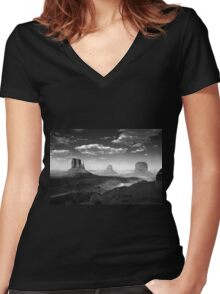 Monument Valley in Black & White  Women's Fitted V-Neck T-Shirt