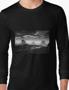 Monument Valley in Black & White  Long Sleeve T-Shirt