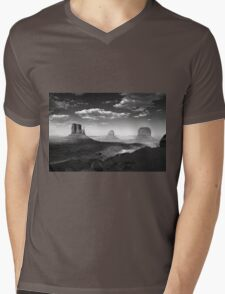 Monument Valley in Black & White  Mens V-Neck T-Shirt