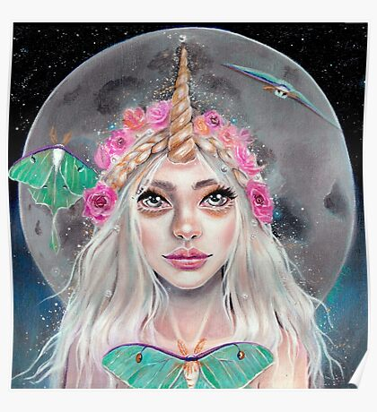 Nymeria and the Luna Moths, Unicorn Girl Poster