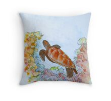 Hervey Bay Turtle Throw Pillow