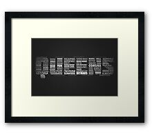 Queens New York Typography Text Framed Print