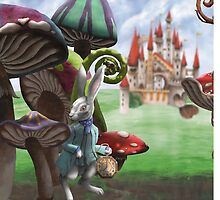 Rabbit in the Wonderland Toadstool Forest by ImogenSmid
