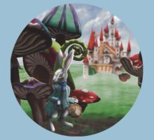 White Rabbit in the Wonderland Toadstool Forest Baby Tee