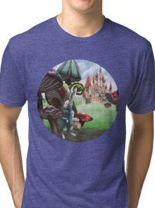 White Rabbit in the Wonderland Toadstool Forest Tri-blend T-Shirt