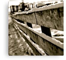Snow Covered Fence Canvas Print