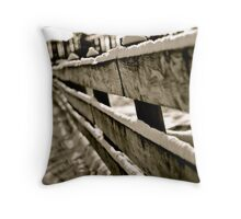 Snow Covered Fence Throw Pillow