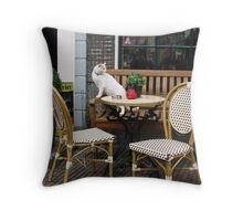 Café Cat Throw Pillow