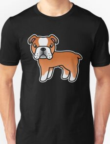 Red English Bulldog Dog Cartoon T-Shirt