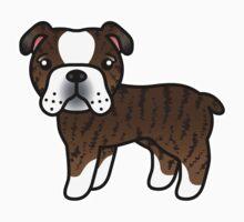 Brindle English Bulldog Dog Cartoon Kids Clothes