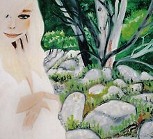 Girl at Sphinx Rock Track, Mt. Wellington, Tasmania. by Julie Diana Lawless