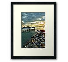 Fisher's Deck - Sunset in Santos, SP, Brazil Framed Print